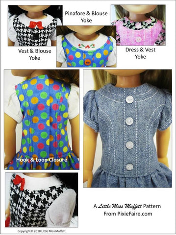 14.5 Inch PDF Doll Clothes Sewing Pattern pinafore, blouse, vest, skirt, dress designed to fit WellieWishers