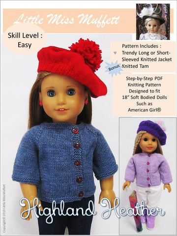"Highland Heather Jacket and Tam 18"" Doll Knitting Pattern"