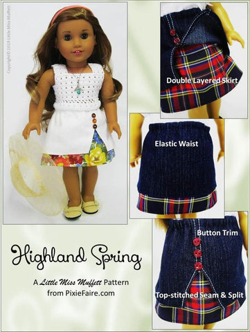 "Highland Spring Skirt 18"" Doll Clothes Pattern"