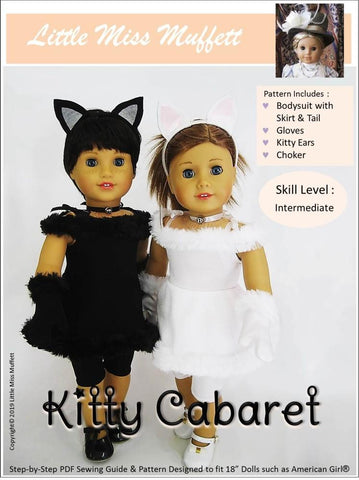 "Little Miss Muffett 18 Inch Modern Kitty Cabaret Costume 18"" Doll Clothes Pattern Pixie Faire"