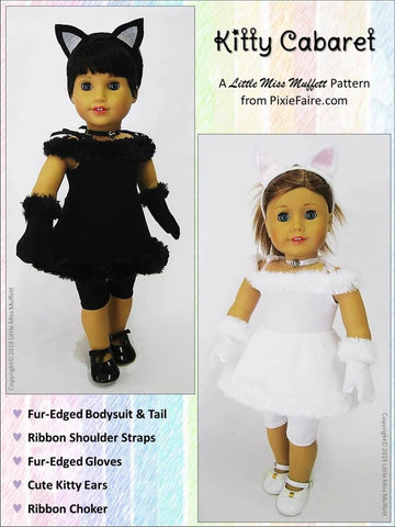 "Kitty Cabaret Costume 18"" Doll Clothes Pattern"