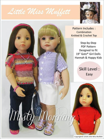 PDF Knitting and Crochet pattern top for 19 inch Gotz dolls