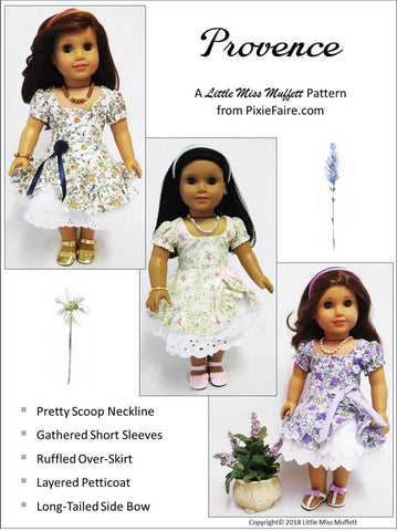 PDF doll clothes sewing pattern Provence dress petticoat designed to fit 18 inch American Girl Dolls