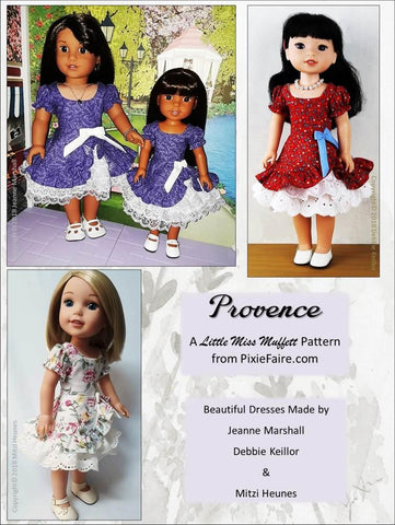 PDF Doll Clothes sewing pattern Little Miss Muffett Provence dress designed to fit 14.5 inch WellieWishers doll