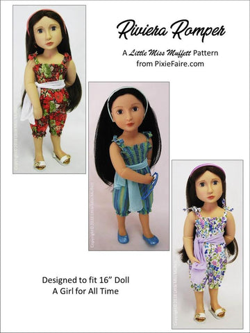 PDF doll clothes sewing pattern Little Miss Muffett Riviera Romper designed to fit 16 inch A Girl For All Time Dolls