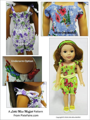 pdf sewing pattern Little Miss Muffett riviera romper designed to fit 14.5 inch WellieWishers dolls
