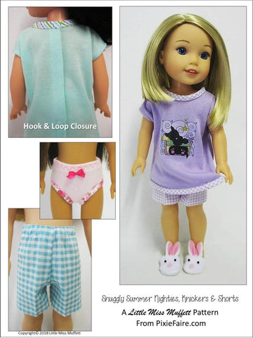 PDF doll clothes sewing pattern summer nighty pajamas short designed to fit WellieWishers