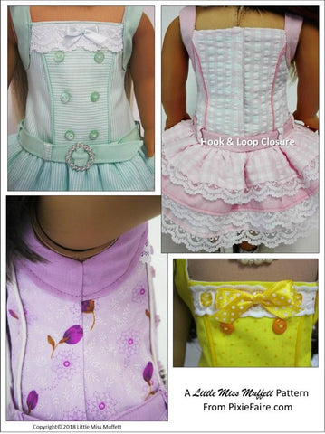 PDF doll clothes sewing pattern sugar candy summer dress designed to fit American Girl
