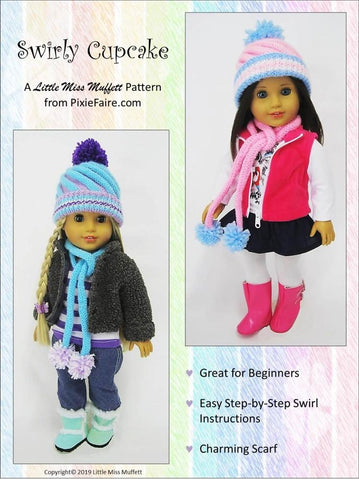 "Swirly Cupcake Beanie 18"" Doll Knitting Pattern"