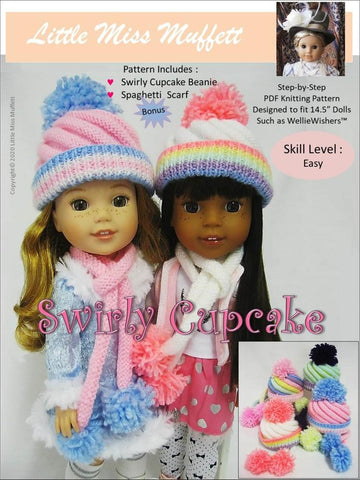 "Little Miss Muffett WellieWishers Swirly Cupcake Beanie 14.5"" Doll Clothes Knitting Pattern Pixie Faire"