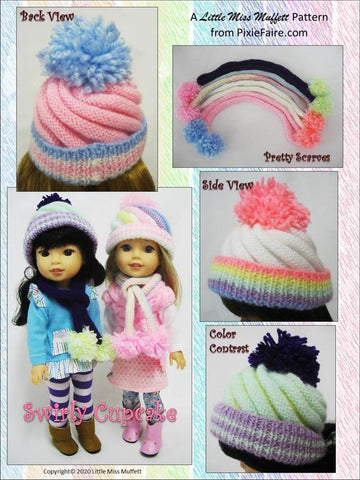 "Swirly Cupcake Beanie 14.5"" Doll Clothes Knitting Pattern"