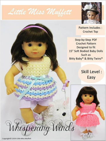 Little Miss Muffett Whispering Winds PDF doll clothes crochet pattern designed to fit 15 inch Bitty Baby Bitty Twin dolls