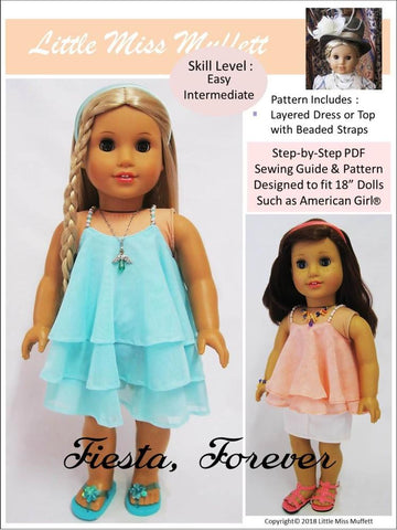 "Little Miss Muffett 18 Inch Modern Fiesta, Forever 18"" Doll Clothes Pattern Pixie Faire"