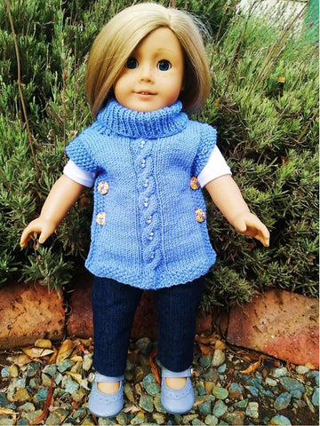 "Pearly Poncho 18"" Doll Knitting Pattern"