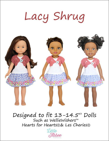 "Lacy Shrug Crochet Pattern for 13-14.5"" Dolls"
