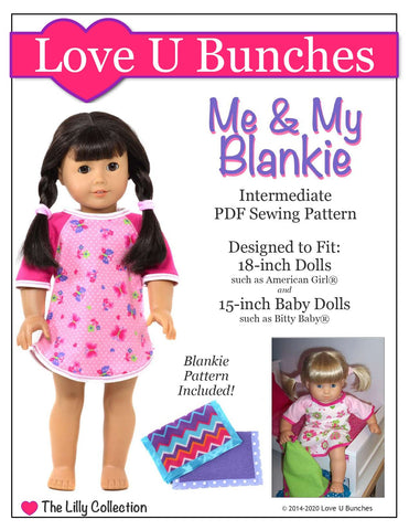 "Love U Bunches 18 Inch Modern Me & My Blankie 18"" Doll Clothes Pattern Pixie Faire"