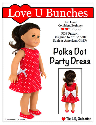 "Love U Bunches 18 Inch Modern Polka Dot Party Dress 18"" Doll Clothes Pixie Faire"