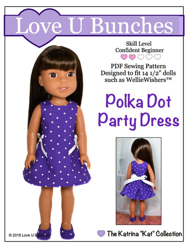 "Love U Bunches WellieWishers Polka Dot Party Dress 14.5"" Doll Clothes Pattern Pixie Faire"