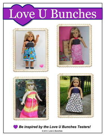 "Love U Bunches 18 Inch Modern Simply Summer Sundress 18"" Doll Clothes Pattern Pixie Faire"
