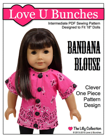 "Love U Bunches 18 Inch Modern Bandana Blouse 18"" Doll Clothes Pattern Pixie Faire"