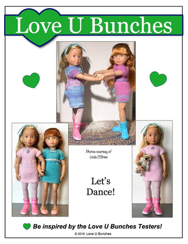 pdf doll clothes knitting pattern Love U Bunches Mini Dresses knitting pattern for 9 inch Kruselings dolls