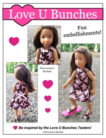 pdf doll clothes sewing pattern Love U Bunches Polka Dot Party Dress designed to fit 9 inch Kruselings dolls