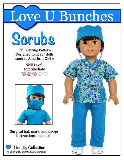 611a37a6196 Scrubs Outfit 18 inch Doll Clothes Pattern PDF - Love U Bunches ...