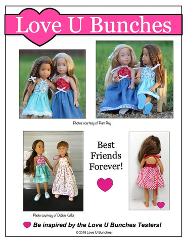 pdf doll clothes sewing pattern Love U Bunches Simply summer Sundress designed to fit 9 inch Kruselings dolls