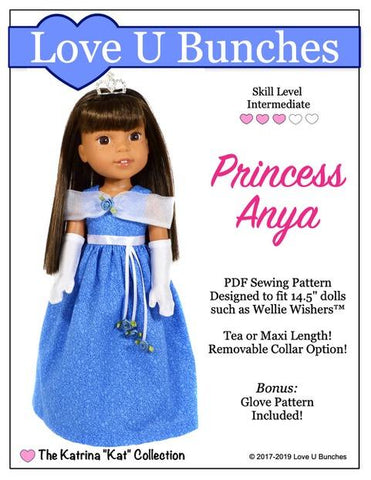 Love U Bunches Princess Anya PDF doll clothes sewing pattern designed to fit 14.5 inch welliewishers dolls
