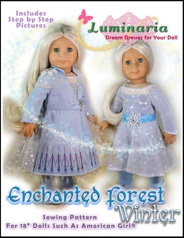 "Enchanted Forest Winter 18"" Doll Clothes Pattern"