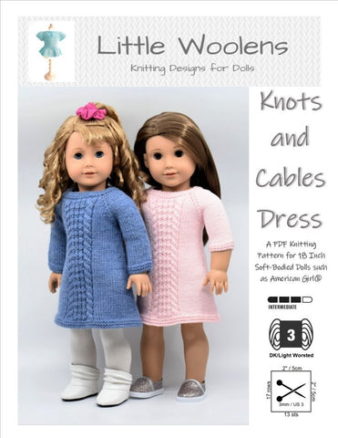 "Knots and Cables Dress 18"" Doll Clothes Knitting Pattern"