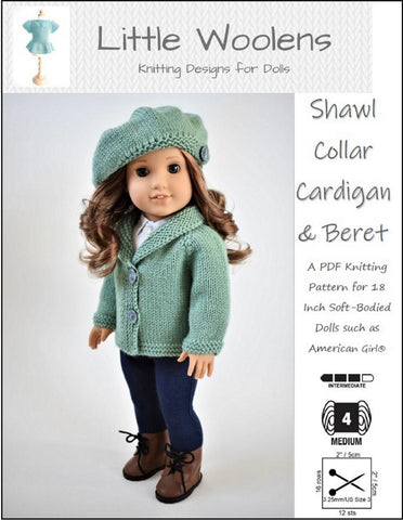 "Little Woolens Designs Knitting Shawl Collar Cardigan and Beret 18"" Doll Clothes Knitting Pattern Pixie Faire"