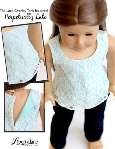 "Liberty Jane 18 Inch Modern Lace Overlay Tank Top 18"" Doll Clothes Pattern Pixie Faire"