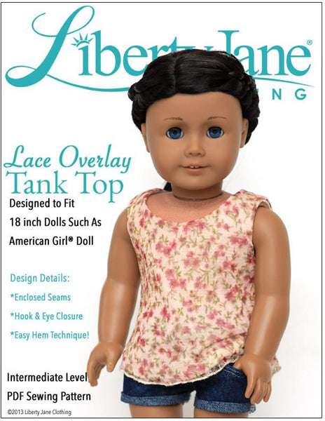 Liberty Jane Lace Overlay Tank Top Doll Clothes Pattern 18