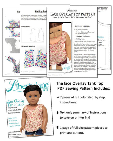 "Lace Overlay Tank Top 18"" Doll Clothes Pattern"