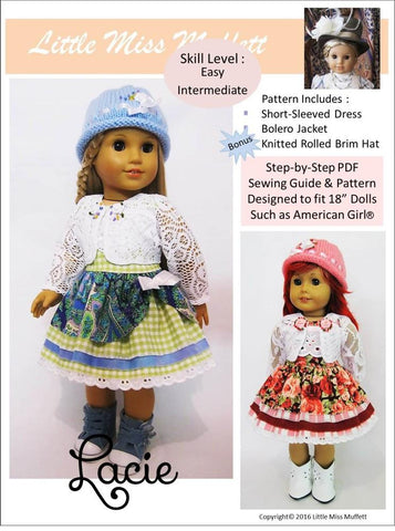 "Little Miss Muffett 18 Inch Modern Lacie 18"" Doll Clothes Pattern Pixie Faire"