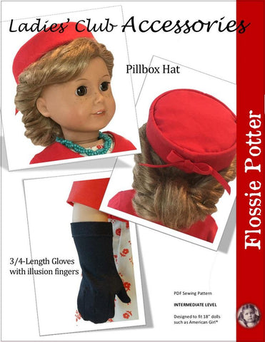 "Ladies' Club Accessories 18"" Doll Clothes Pattern"