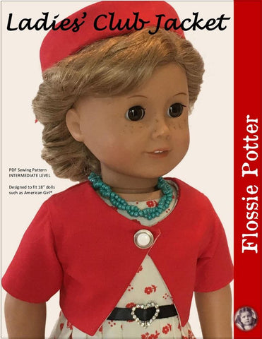 "Flossie Potter 18 Inch Historical Ladies' Club Jacket 18"" Doll Clothes Pattern Pixie Faire"