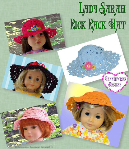 "Lady Sarah Rick Rack Hat 18"" Doll Accessories"