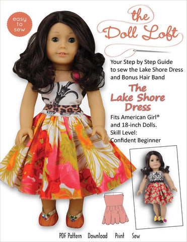 "Lake Shore Dress and Hairband 18"" Doll Clothes Pattern"