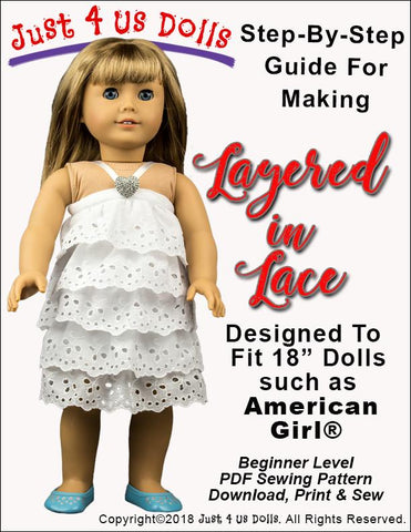 PDF doll clothes sewing pattern layered in lace dress designed to fit 18 inch American Girl dolls