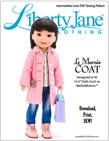 "Le Marais Coat 14.5"" Doll Clothes Pattern"