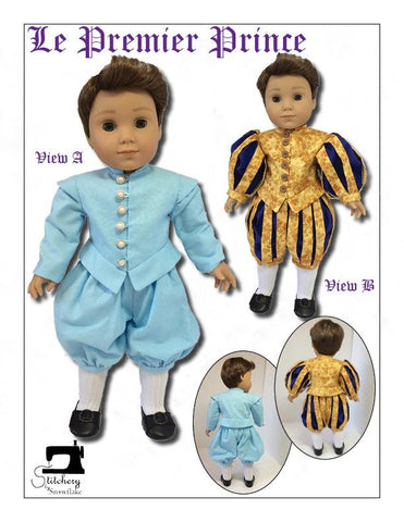 PDF Doll Clothes sewing pattern Stitchery By Snowflake La Premiere Prince costume designed to fit 18 inch American Girl dolls