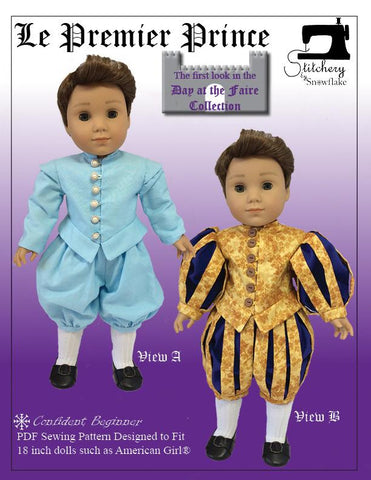 "Stitchery By Snowflake 18 Inch Historical Le Premier Prince 18"" Doll Clothes Pattern Pixie Faire"