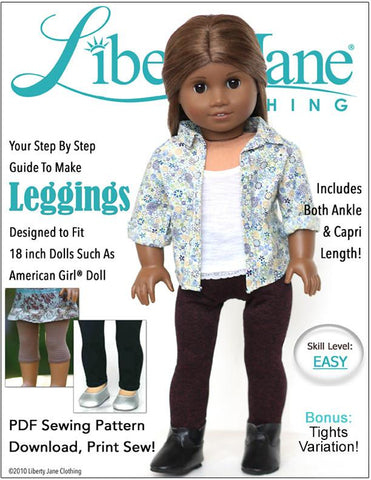 "Liberty Jane 18 Inch Modern Leggings 18"" Doll Clothes Pattern Pixie Faire"