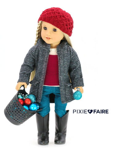 "Liberty Jane 18 Inch Modern Oxford Square Coat 18"" Doll Clothes Pattern Pixie Faire"