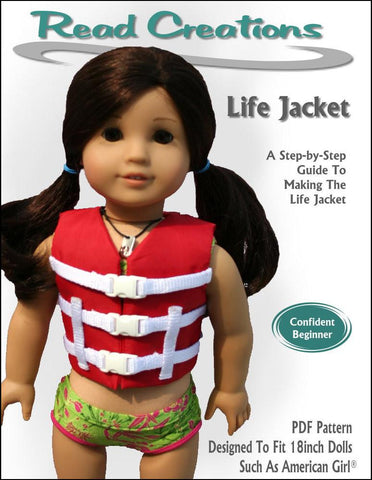 "Read Creations 18 Inch Modern Life Jacket 18"" Doll Clothes Pattern Pixie Faire"