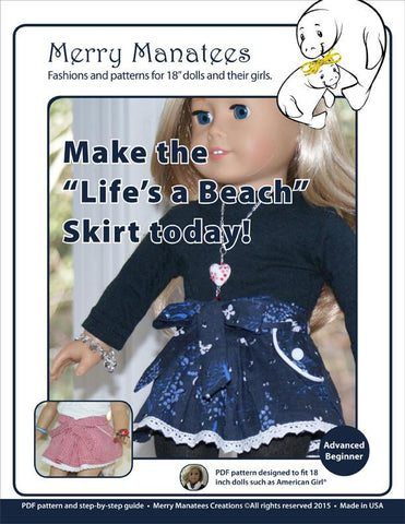 "Life's a Beach Skirt 18"" Doll Clothes"