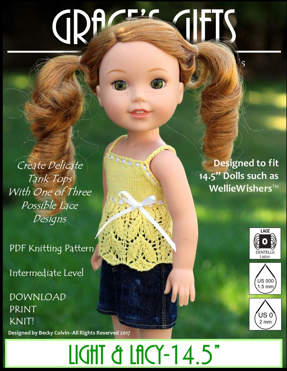 Grace\'s Gifts Light & Lacy Doll Clothes Pattern 14.5 inch dolls such ...