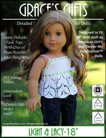 "Grace's Gifts Knitting Light & Lacy 18"" Doll Knitting Pattern Pixie Faire"